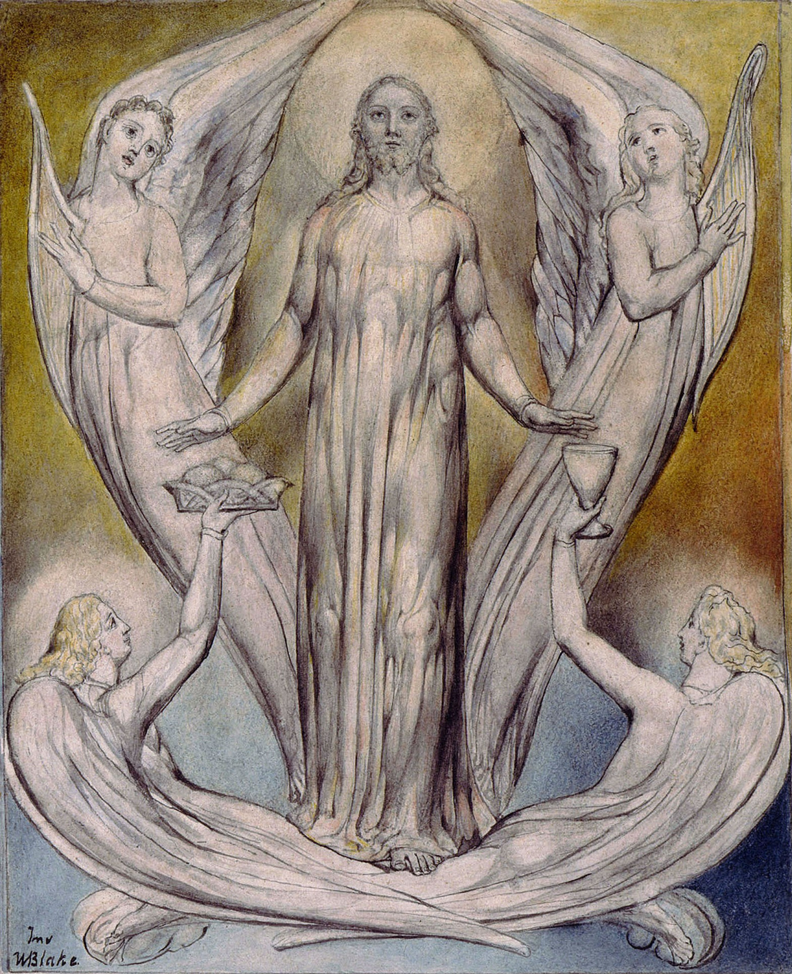 "William Blake. Angels ministered to Christ. Illustration to the poem by Milton, ""Returned to Paradise"""
