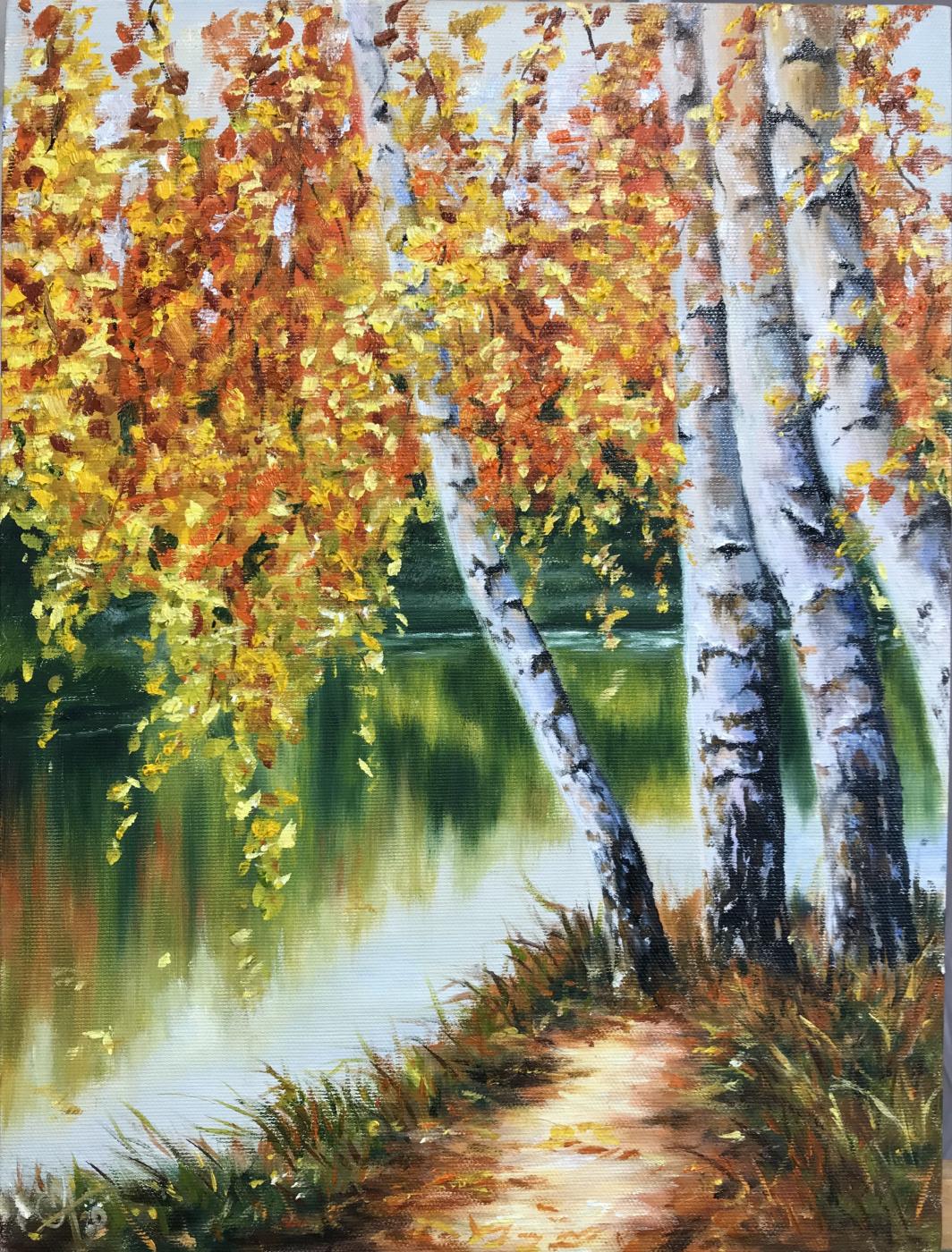 Svetlana Ivanova. Autumn birches by the river