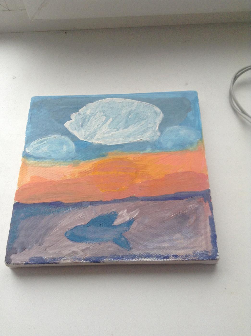 Amateur Draw. Fish at sunset