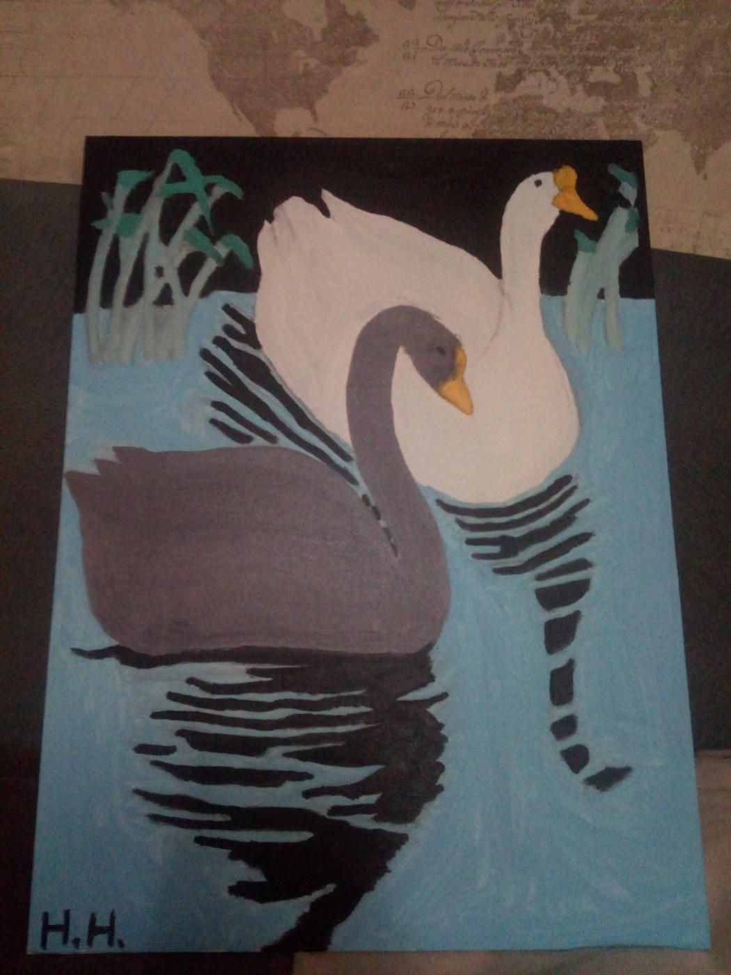 Nikita Nosolev. Swans in the night