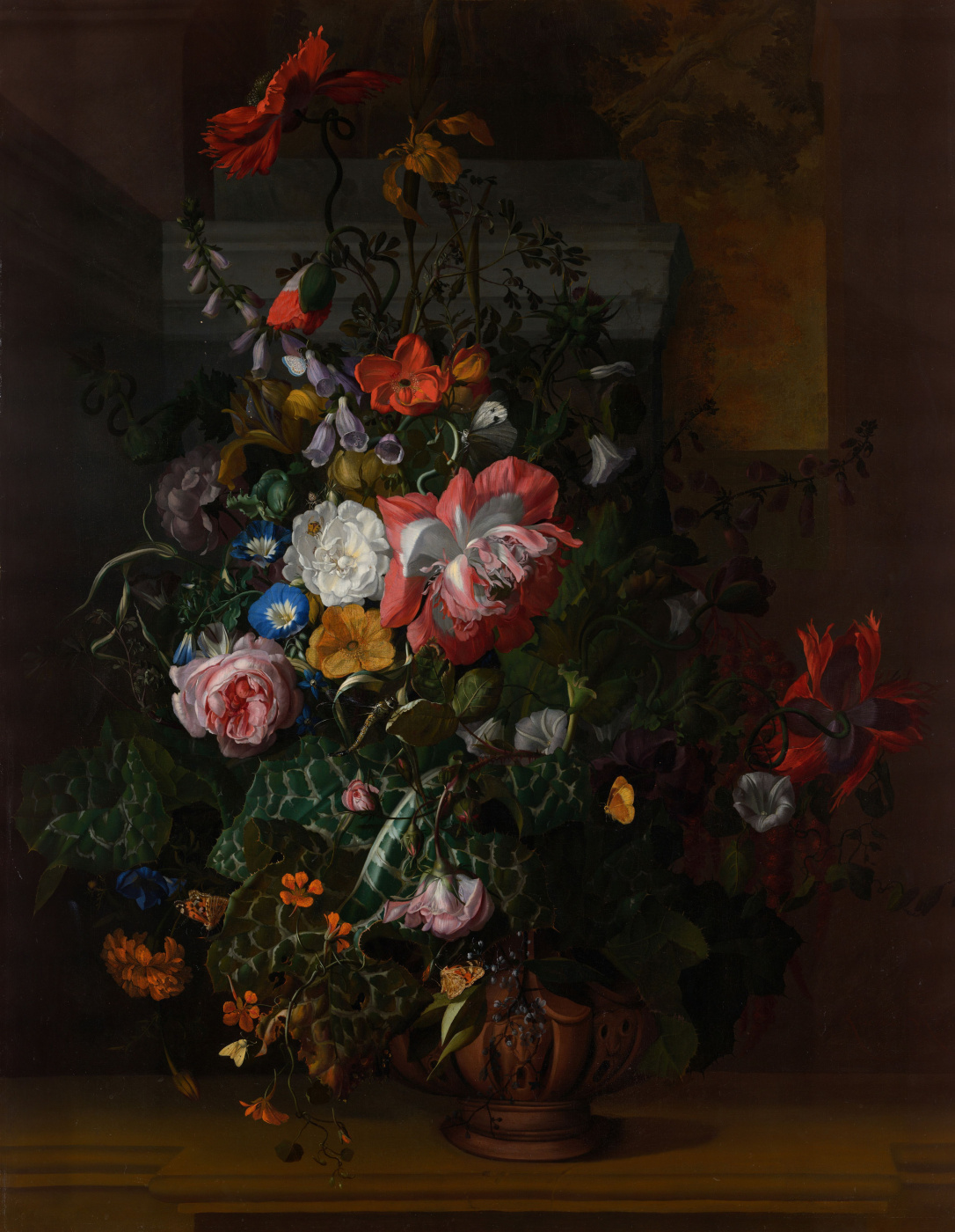 Rachelle Ruysch. Roses convolvulus poppies and other flowers in a vase on a stone shelf