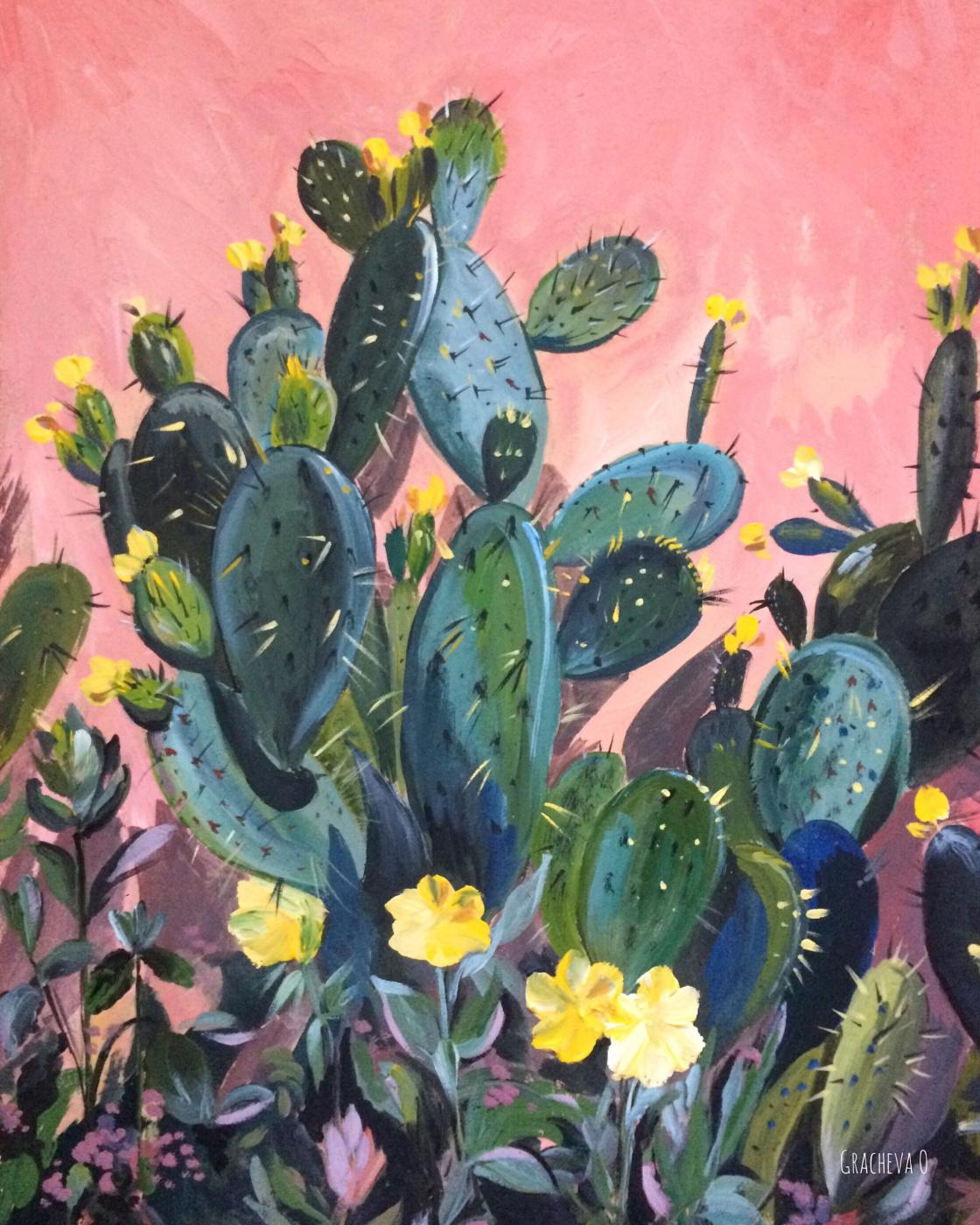 Oksana Gracheva. Cacti on the background of the pink fence