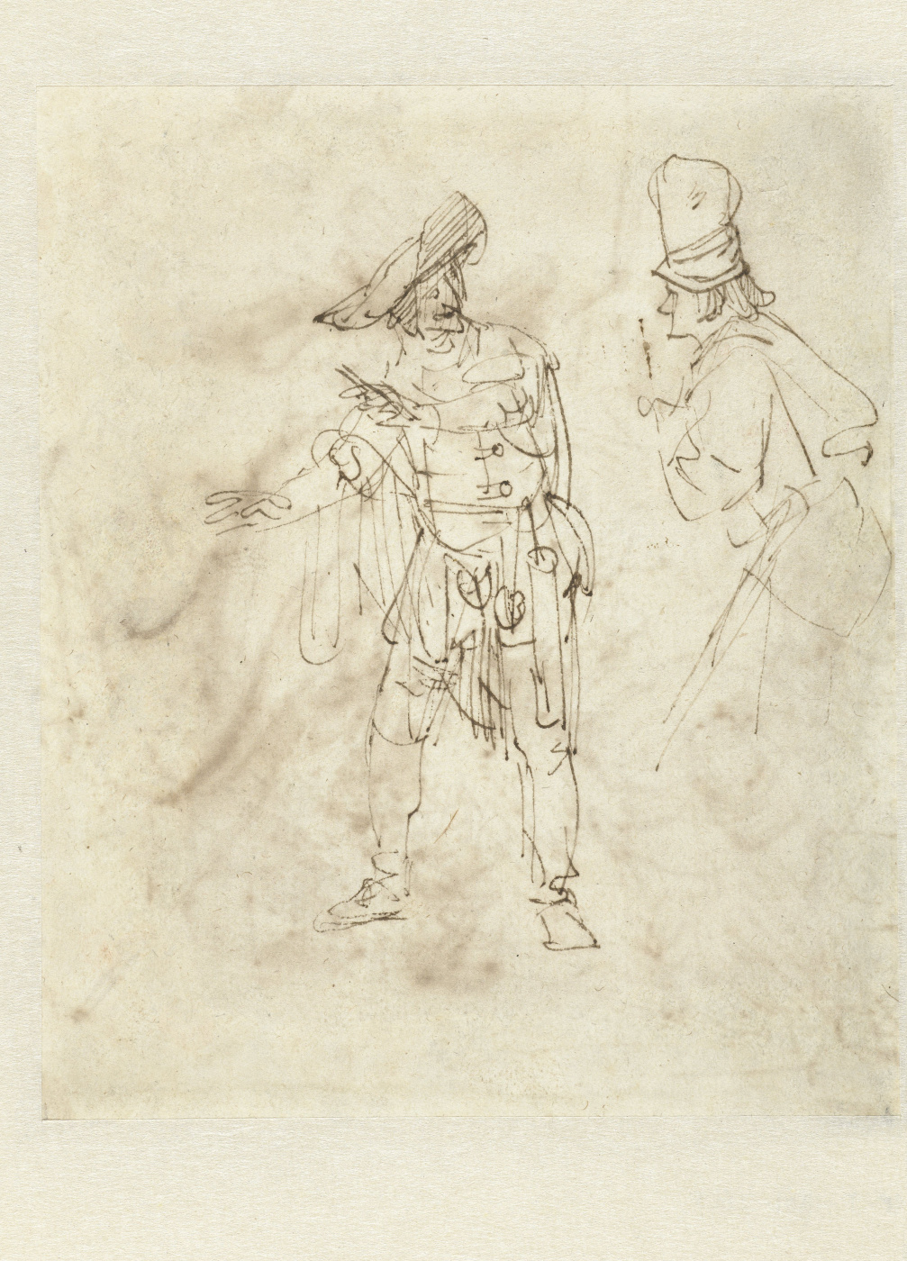 Rembrandt Harmenszoon van Rijn. Actor in the Role of Pantalone Engaged in Conservation