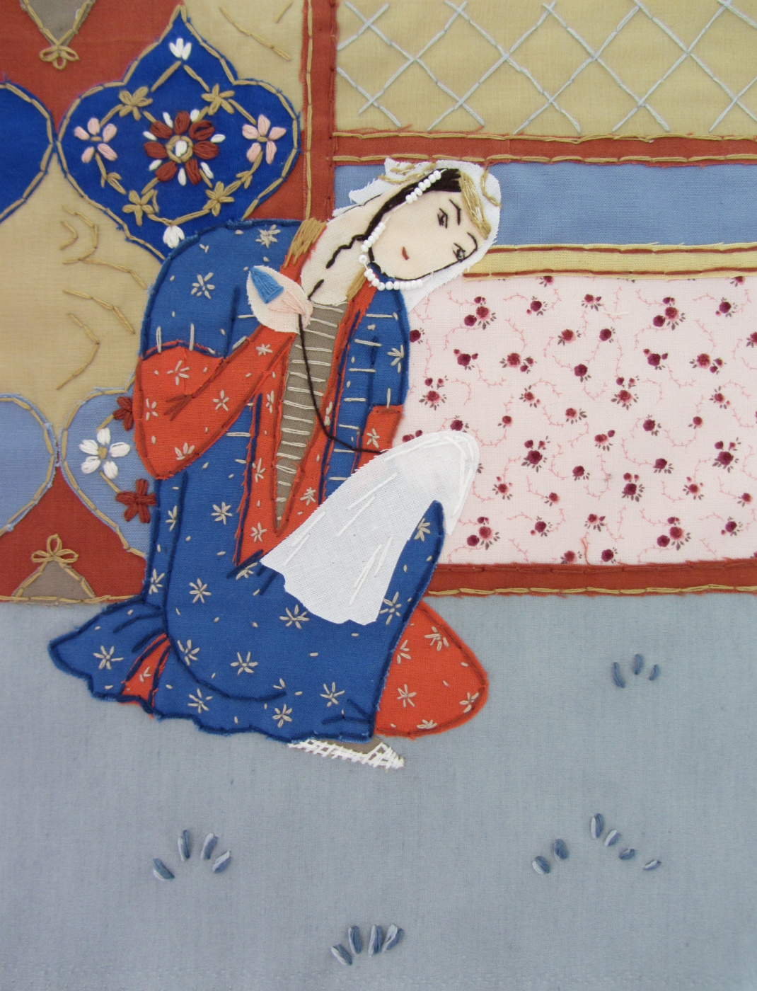 Unknown artist. Persian miniature. Copy (embroidered collage)