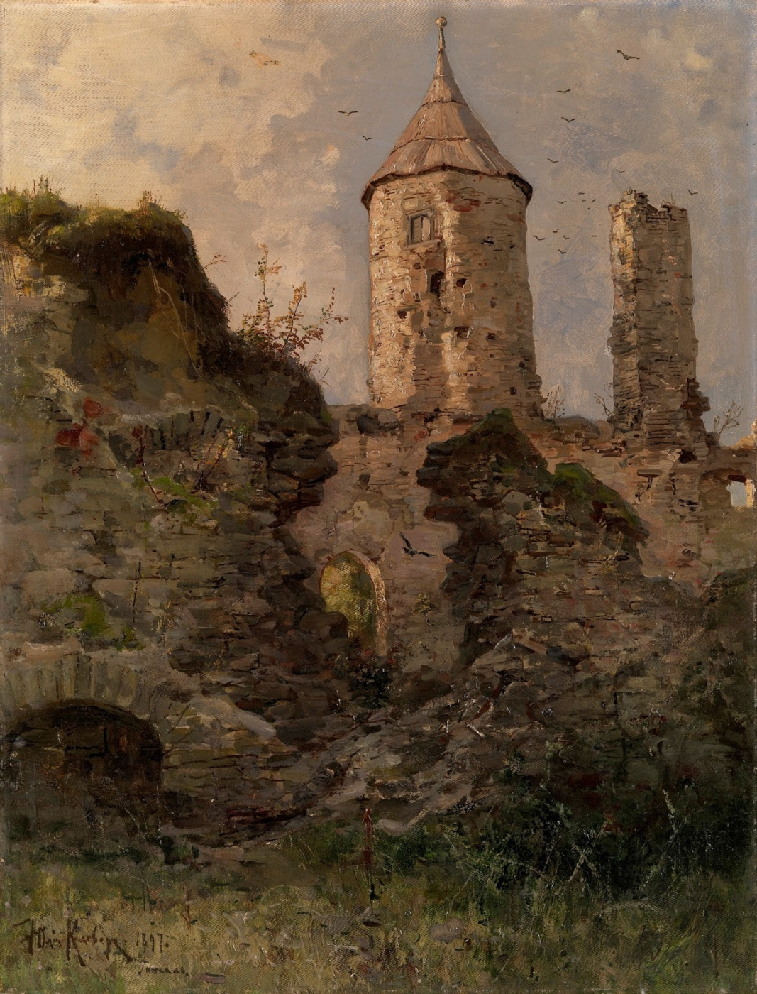 Julius Klever. View of Haapsalu castle, Estonia