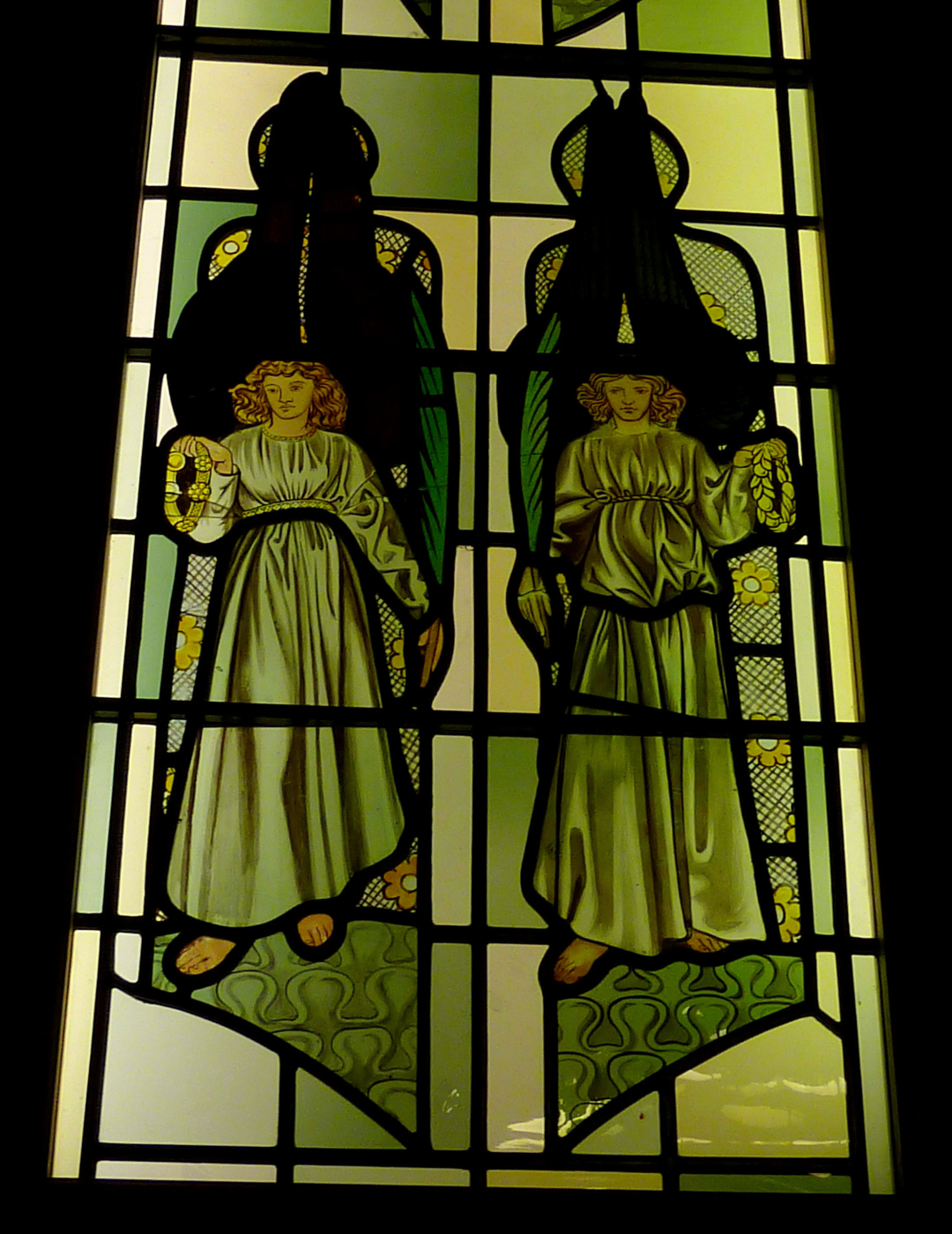 William Morris. Stained glass windows in Bradford Cathedral, Stott Hill, Bradford, West Yorkshire, England