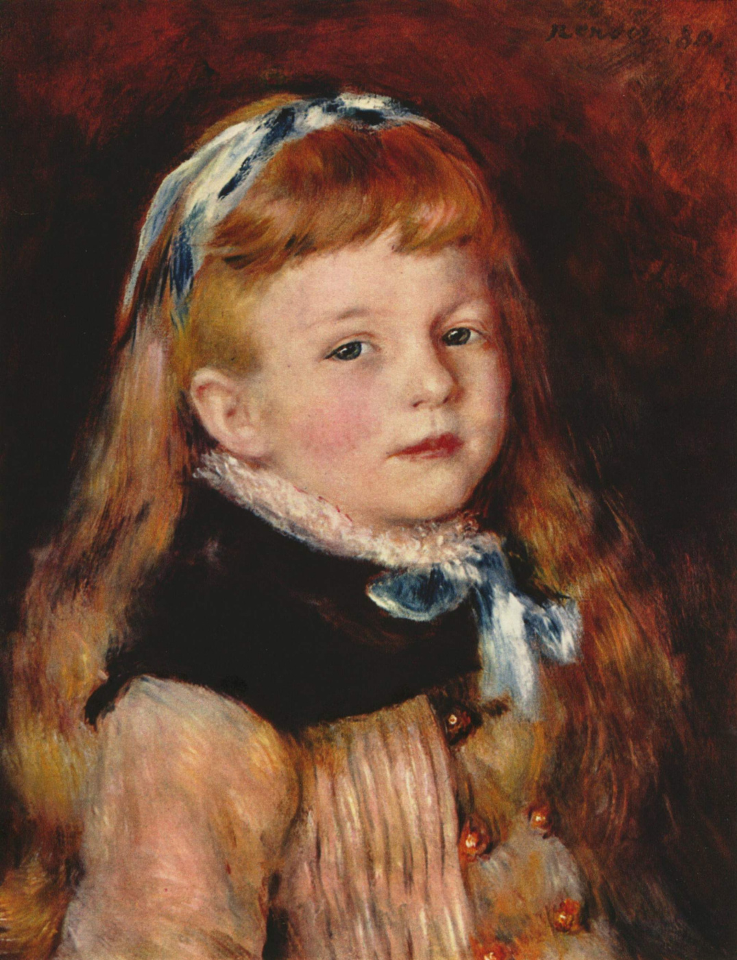 Pierre-Auguste Renoir. Grimpel lady with blue ribbon in hair