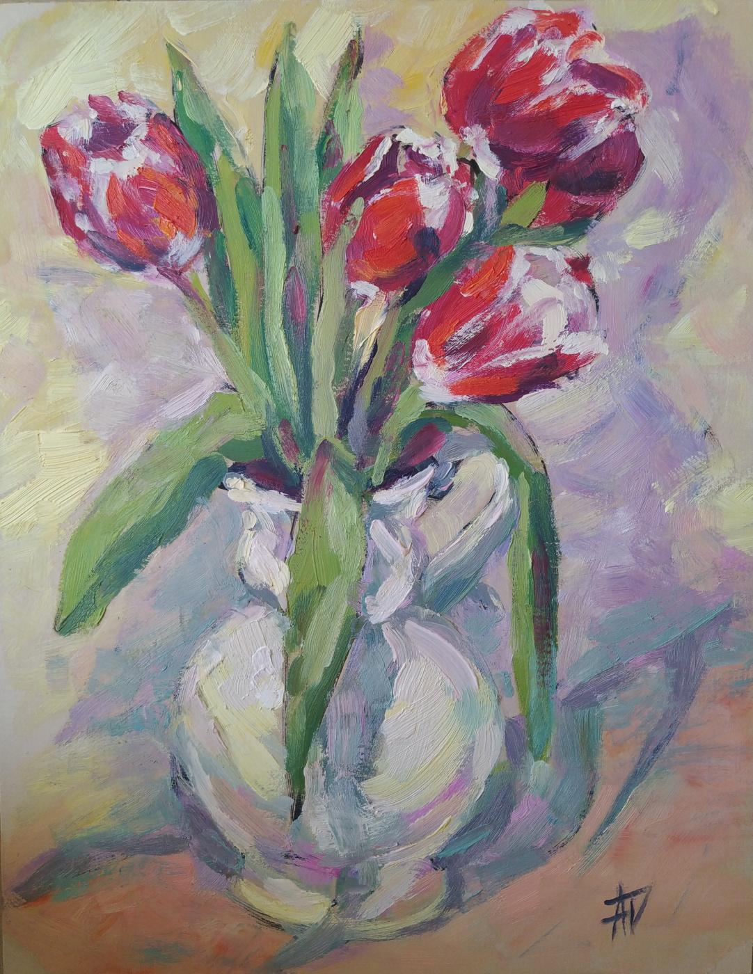 Anna Valerievna Dolganova. Spring in a bouquet of tulips