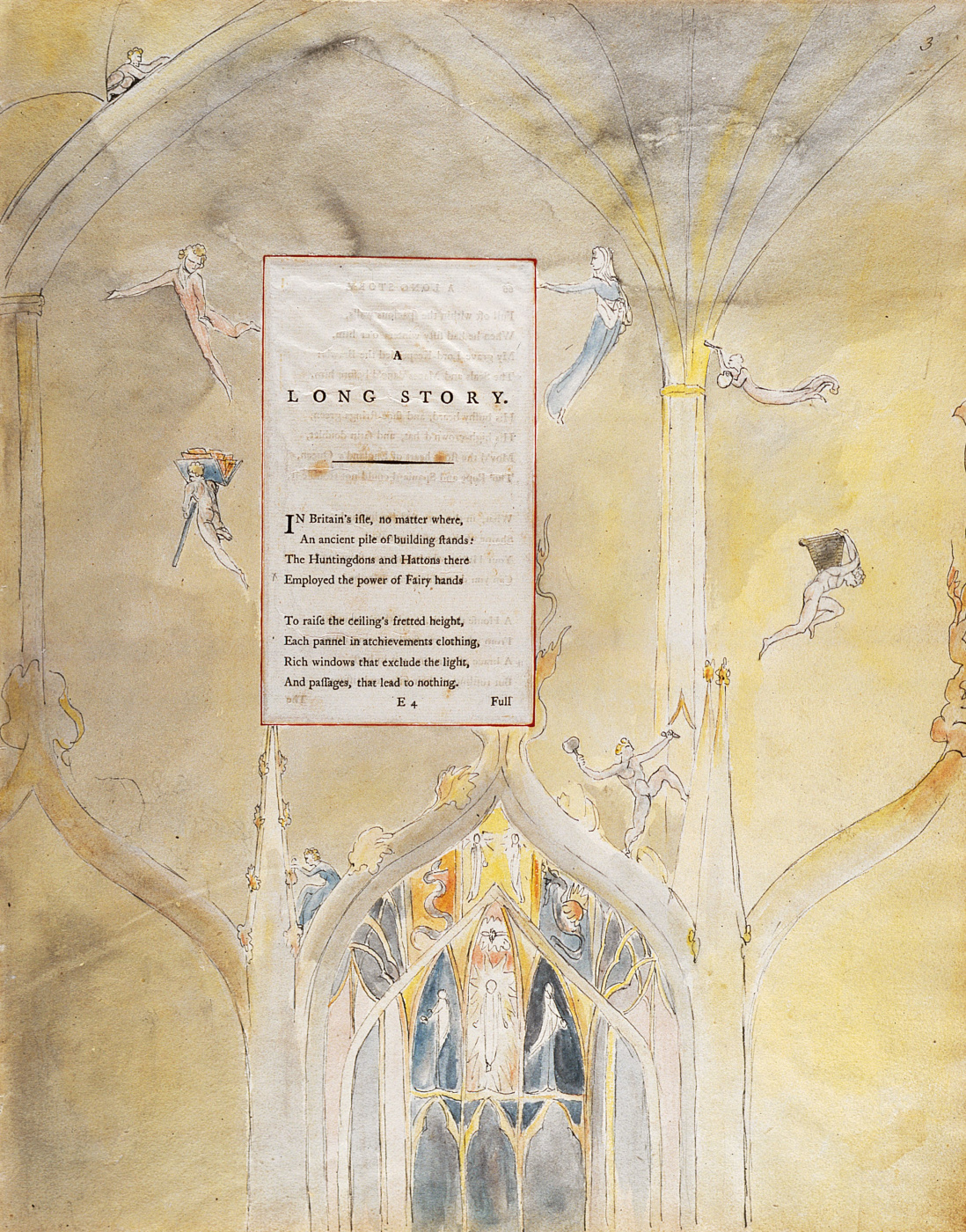 William Blake. Illustrations to the poems. Long story. Sheet 3. Beginning of the poem