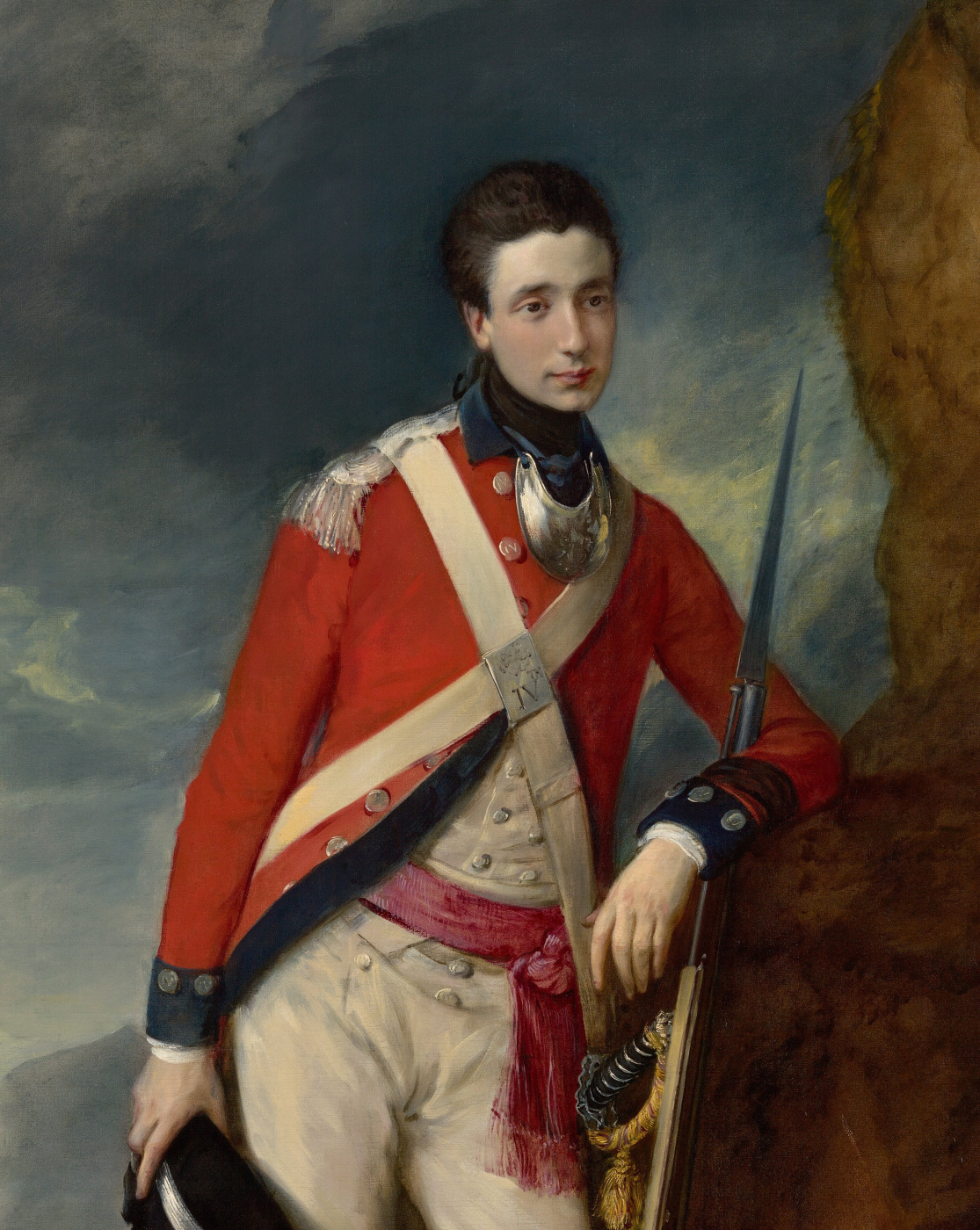 Thomas Gainsborough. Portrait of an officer of the 4th Infantry regiment with the dog. Fragment