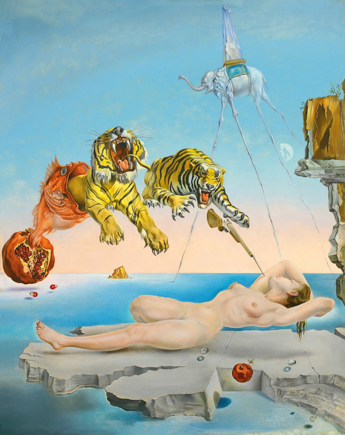 Salvador Dali. Dream caused by the flight of a bee around a pomegranate a second before awakening