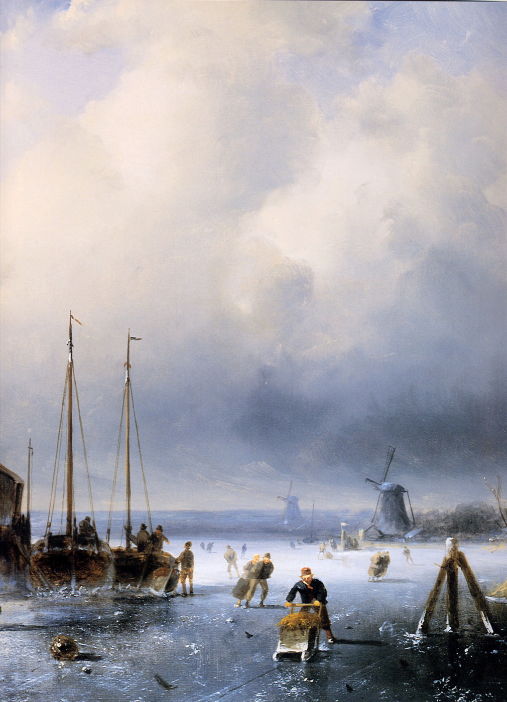 Charles Henry Joseph Lackert. Winter landscape with sameshima korablyami. Fragment