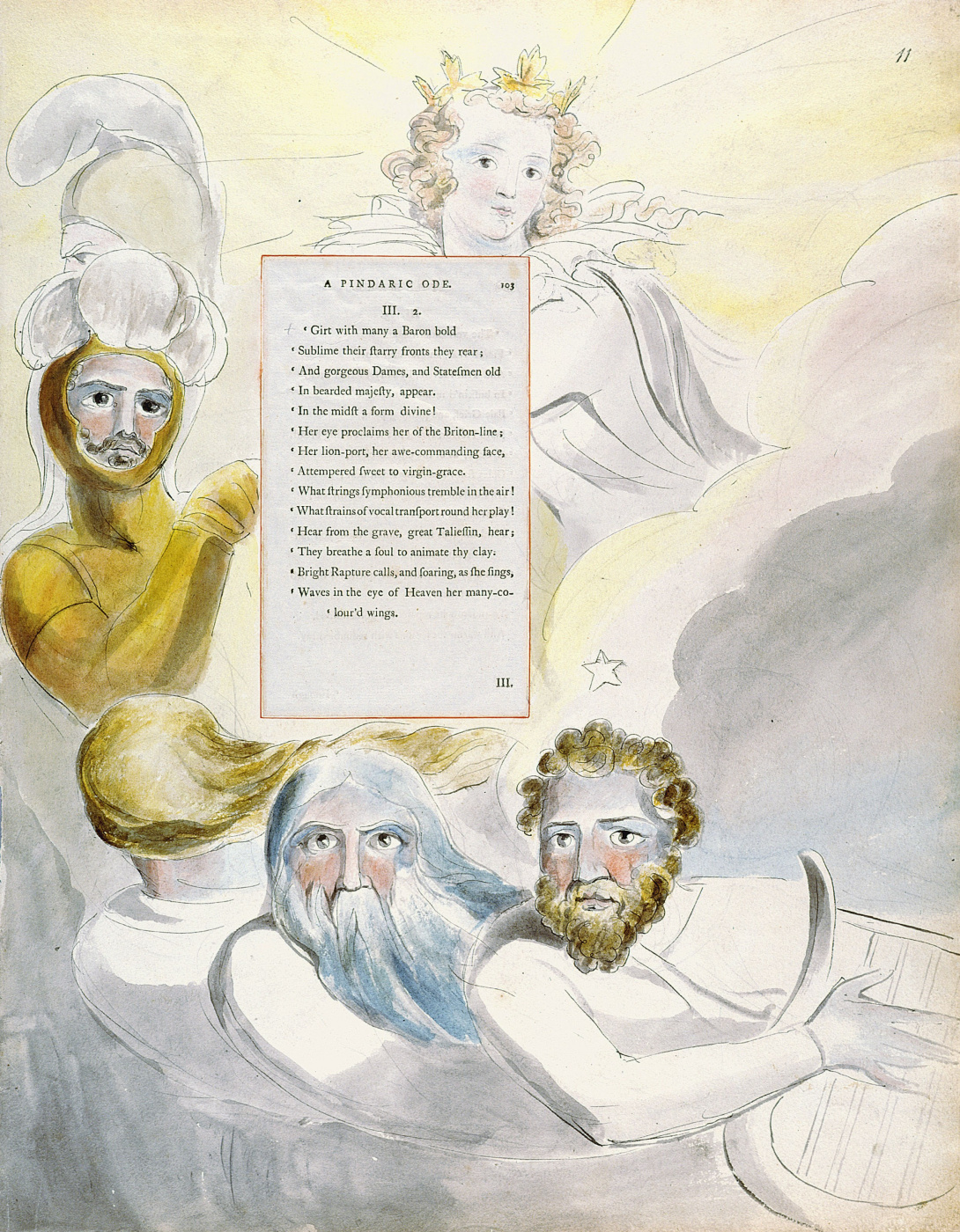 William Blake. Illustrations to the poems. Bard. Pintoresca ode. Sheet 11