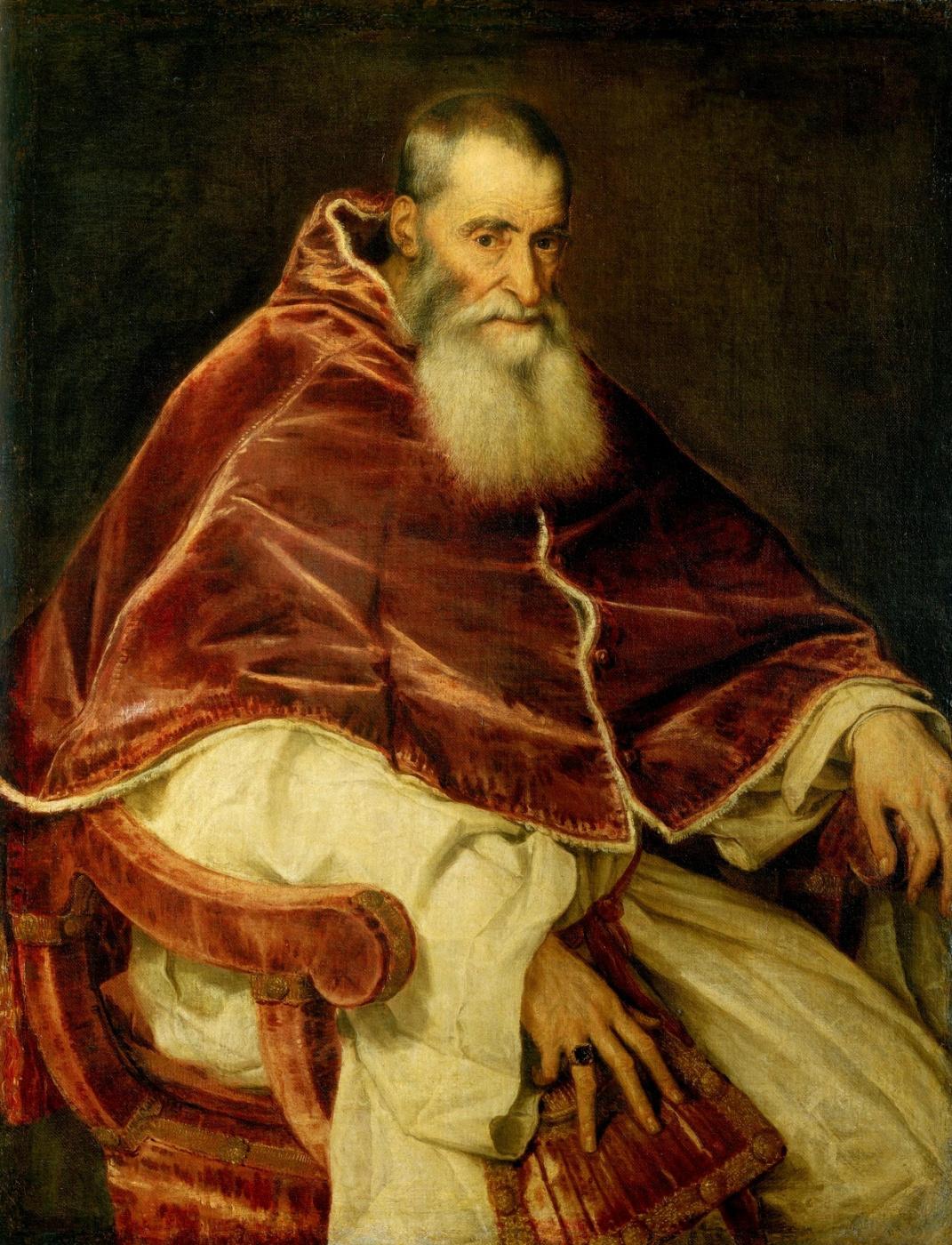 Titian Vecelli. Portrait of Pope Paul III