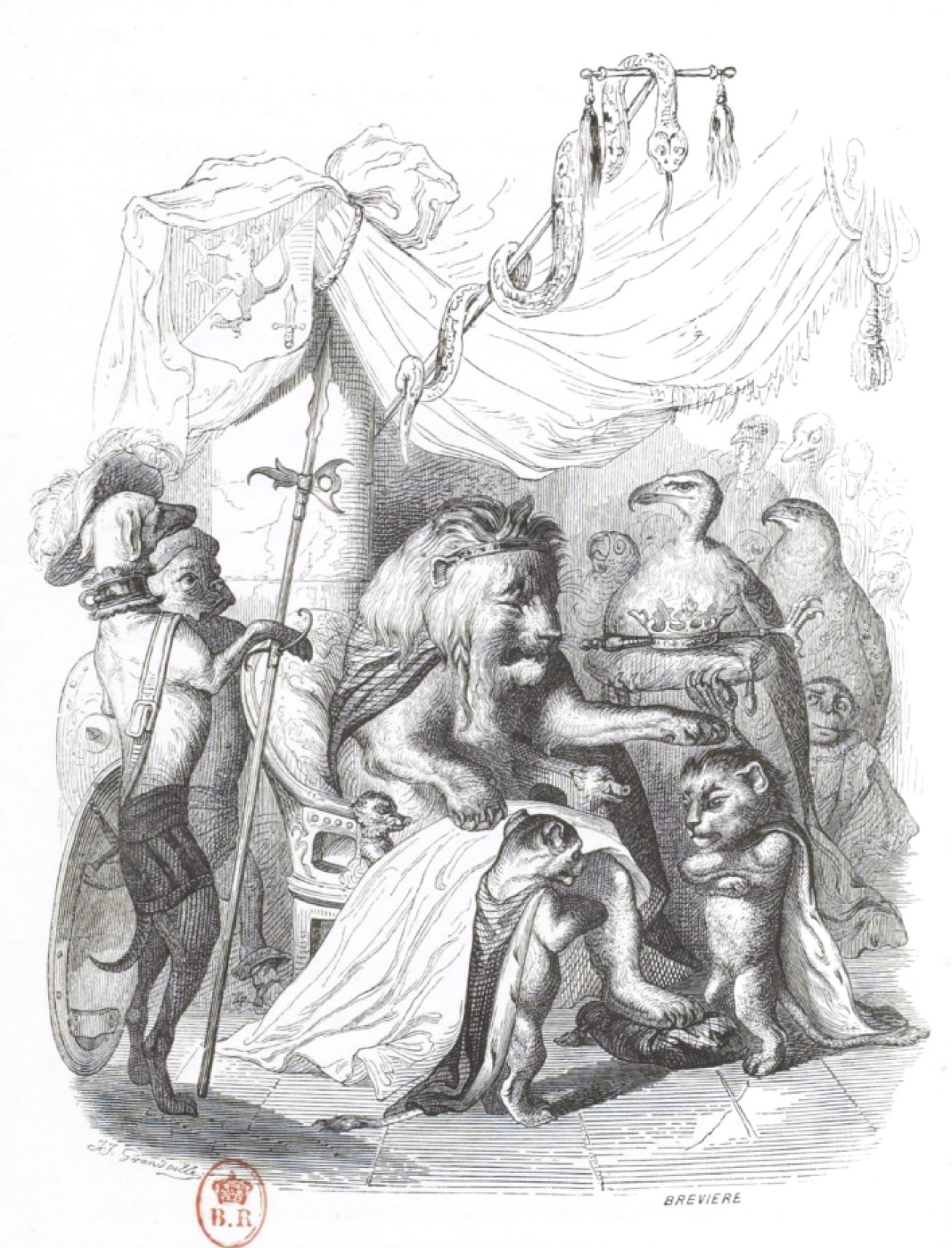 """Jean Inias Isidore (Gerard) Granville. The Old King. """"Scenes of public and private life"""""""