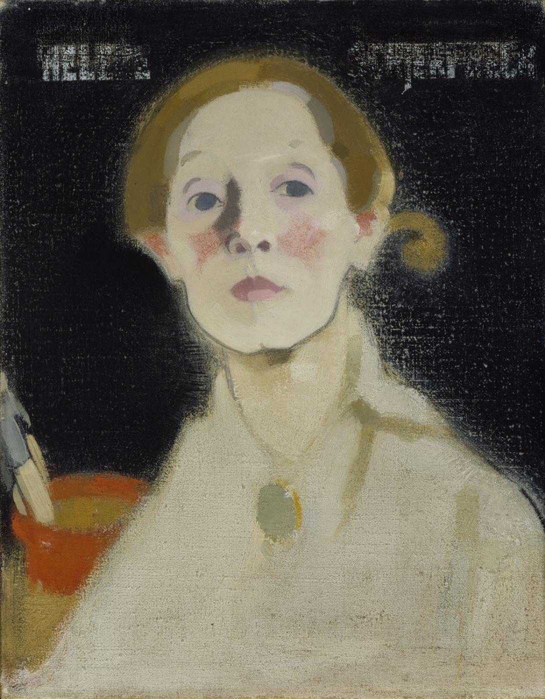Helena Sophia Scherfbek. Self portrait on black background