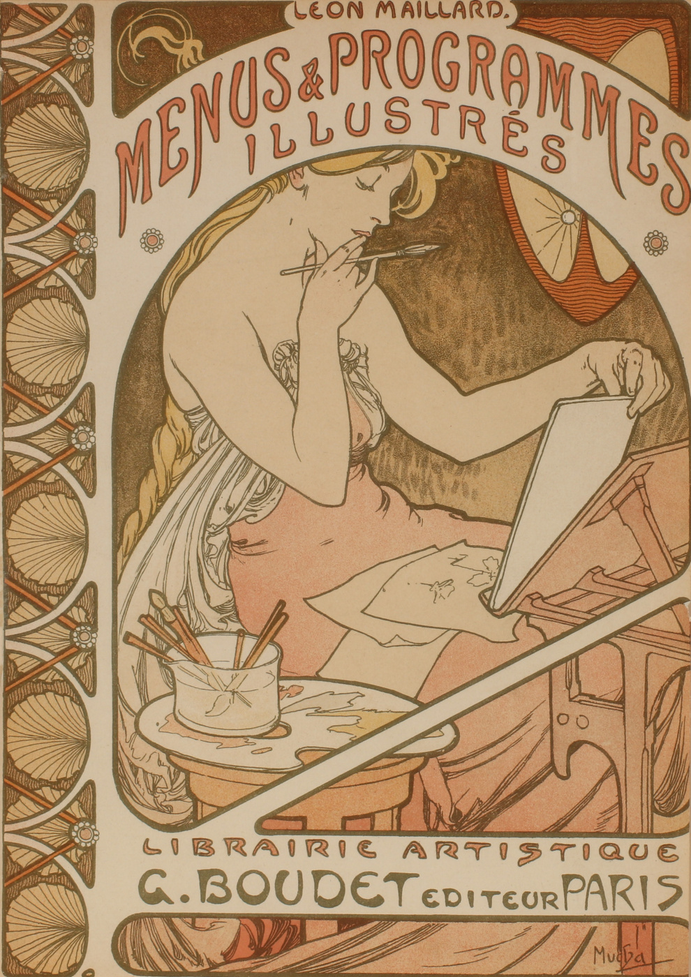 Alphonse Mucha. Menu and program illustration