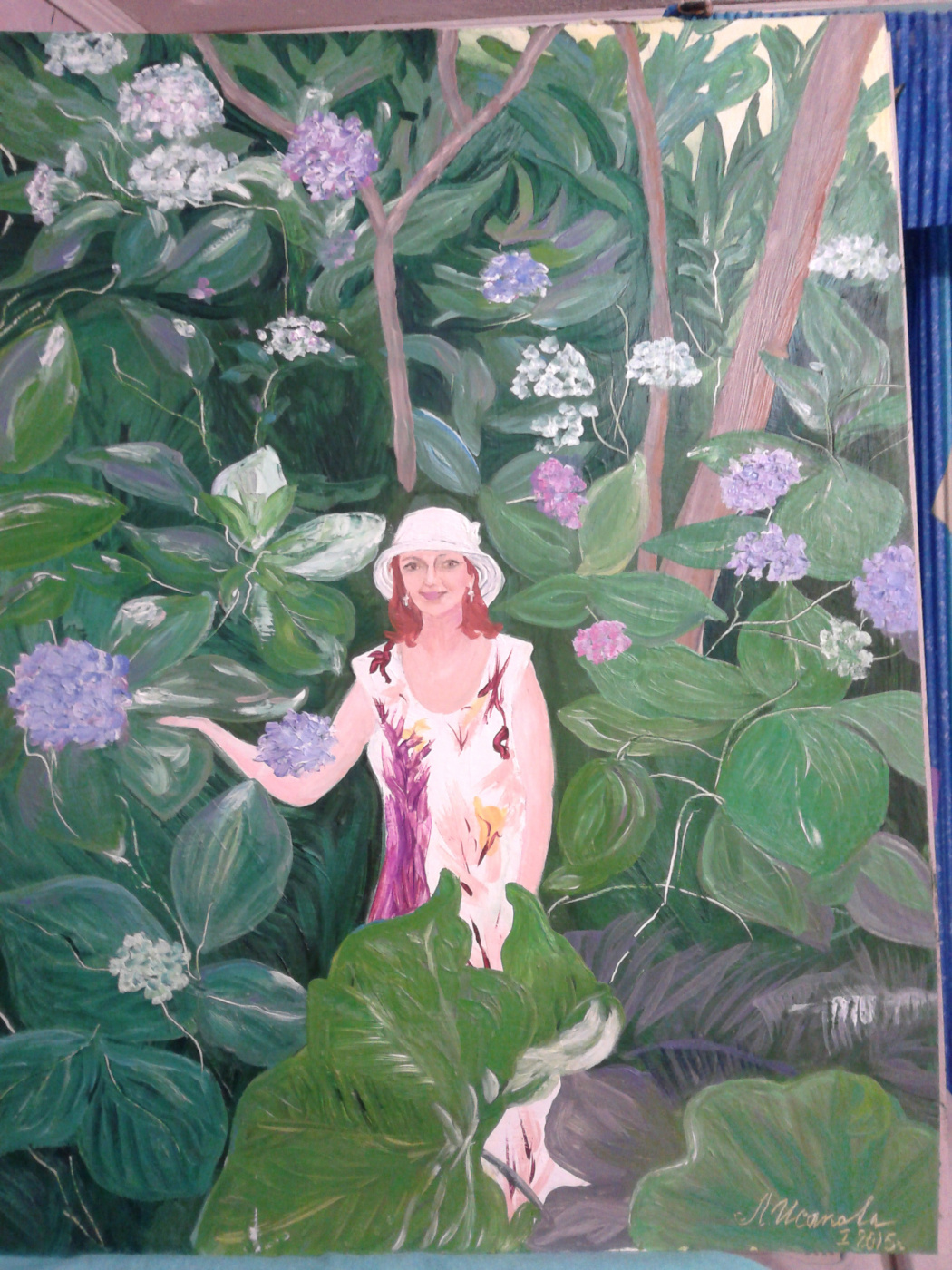 Love Ilyinichna Isakova. Self-portrait with Hydrangeas