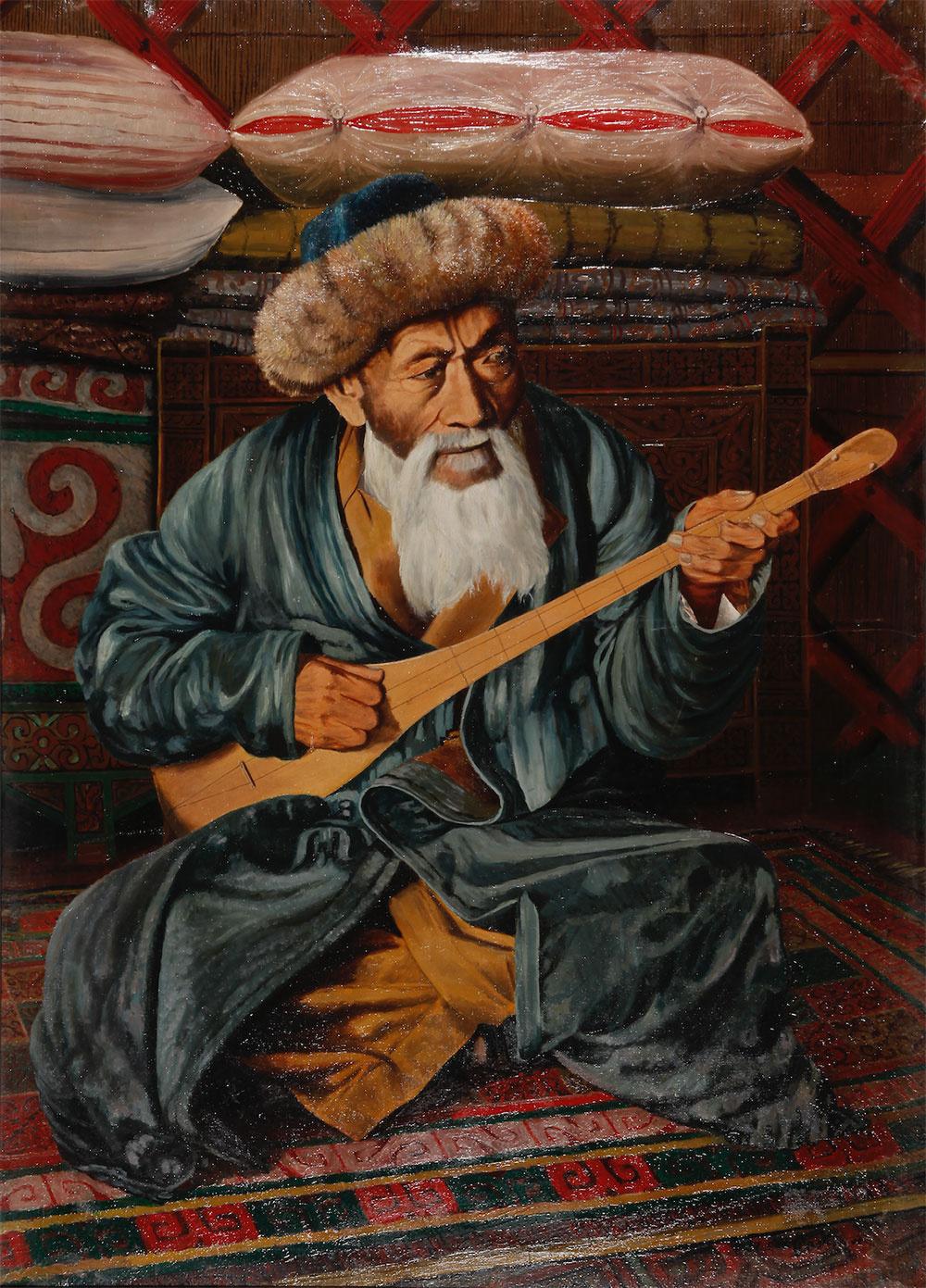 Abylkhan Kasteevich Kasteev. Portrait of the national akyn Zhambyl
