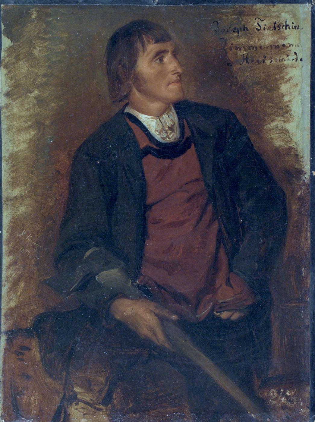 Ludwig Knaus. Portrait of a carpenter Joseph Ticin from Herishrid.