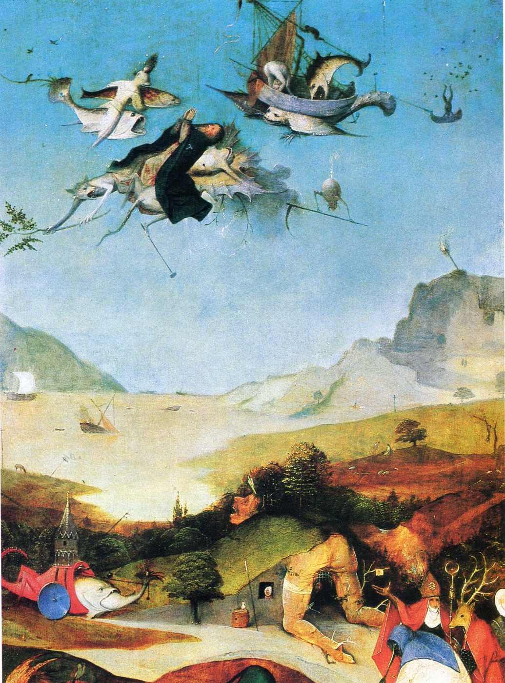 Hieronymus Bosch. The Temptation Of St. Anthony. Left wing of a triptych. Fragment