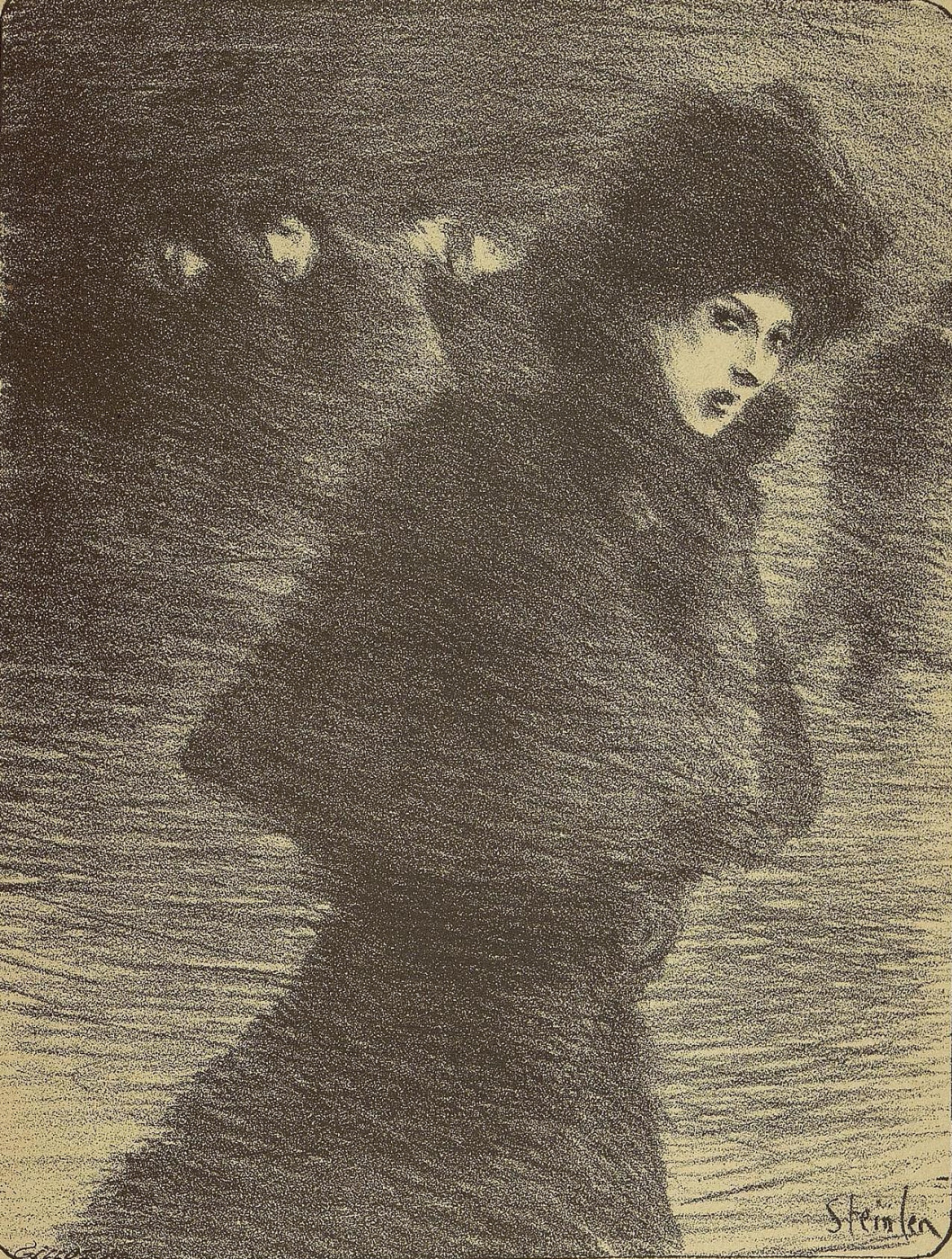 "Theophile-Alexander Steinlen. To the song ""the Woman who passes by"". Illustration to the book by P. Delmas, ""Female songs"""