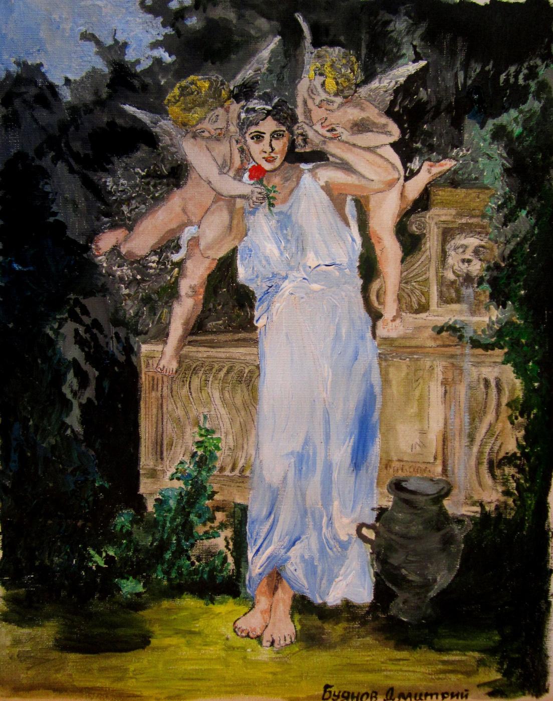 "Дмитрий Юрьевич Буянов. A free copy of the painting by Bouguereau ""Youth""(Voice of Love) Artist Dmitry Buyanov"