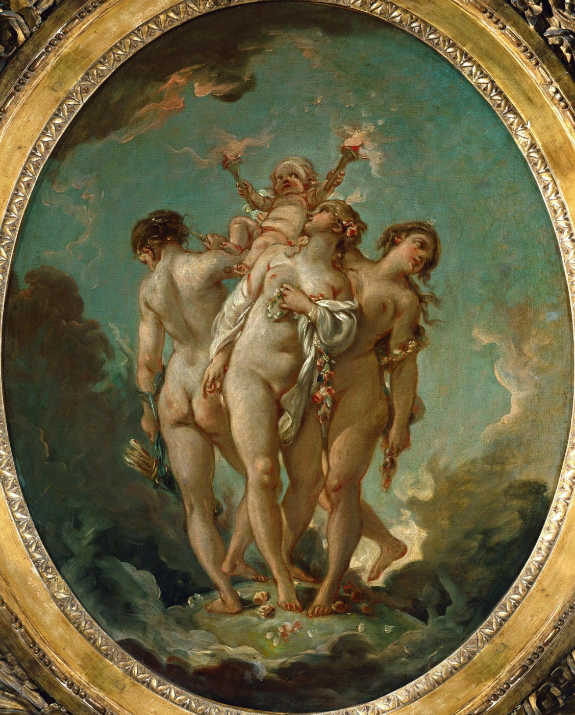 Francois Boucher. Three Graces Carrying Cupid