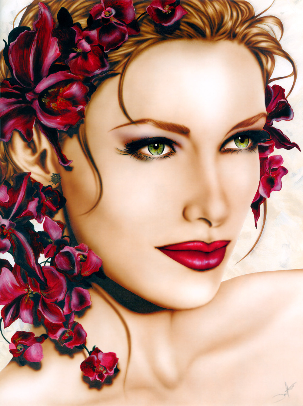 Jennifer Ianesco. Flowers in her hair