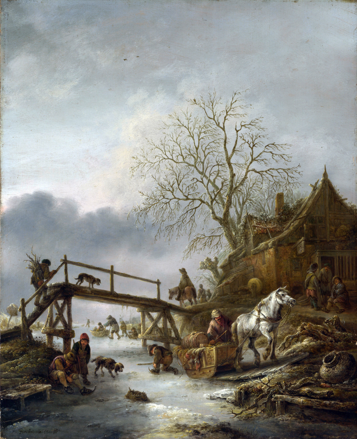 Isaac Jans van Ostade. Tavern on the frozen river