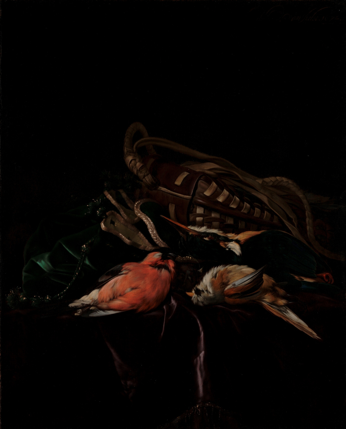 Willem van Aelst. Still life with dead birds and hunting bag