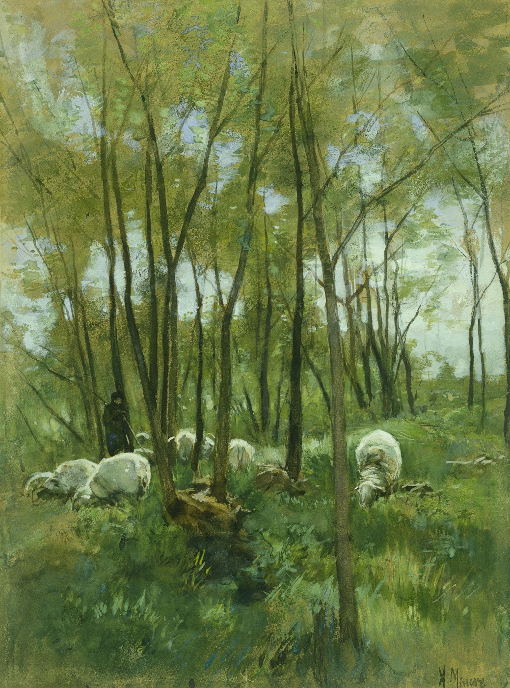 Anton Maouve. Flock of sheep in the woods