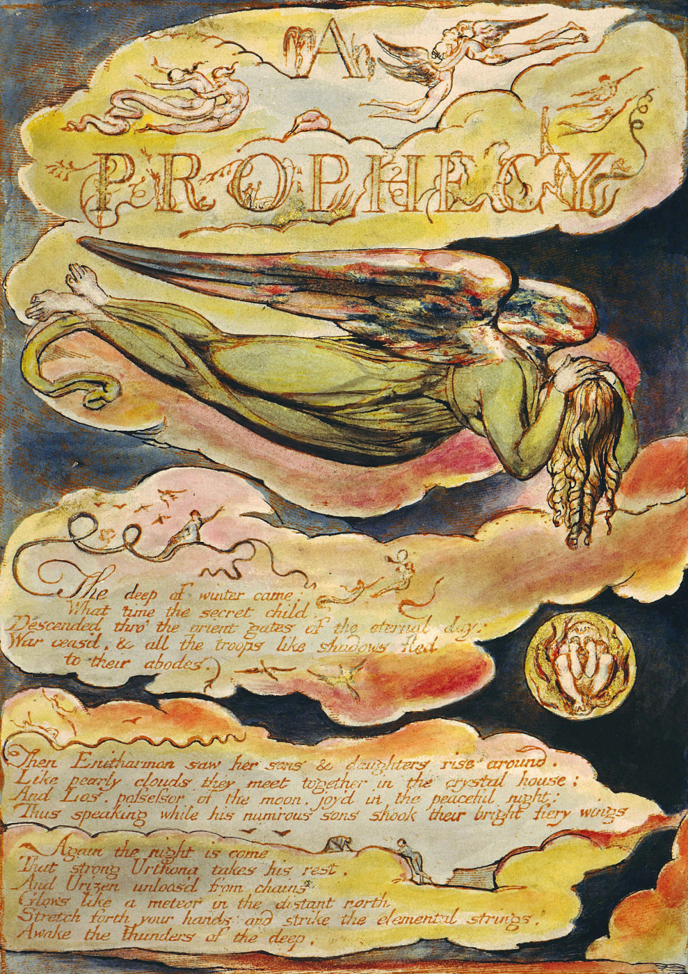 "William Blake. Flying angel. Illustration for the poem ""Europe: a prophecy"""