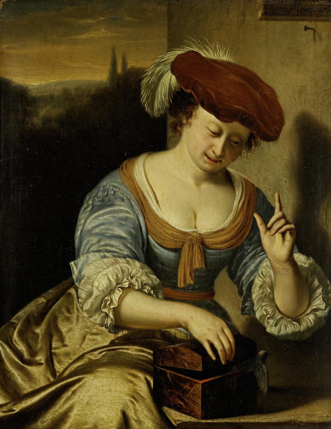 Franz van Miris the Elder. An escaped bird. Allegory of chastity