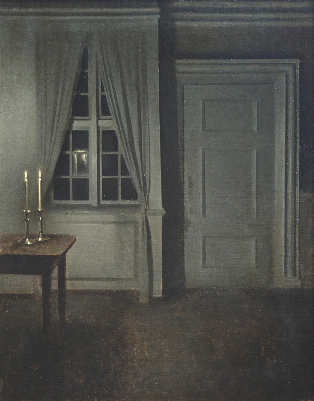 Vilhelm Hammershøi. Interior with two candles