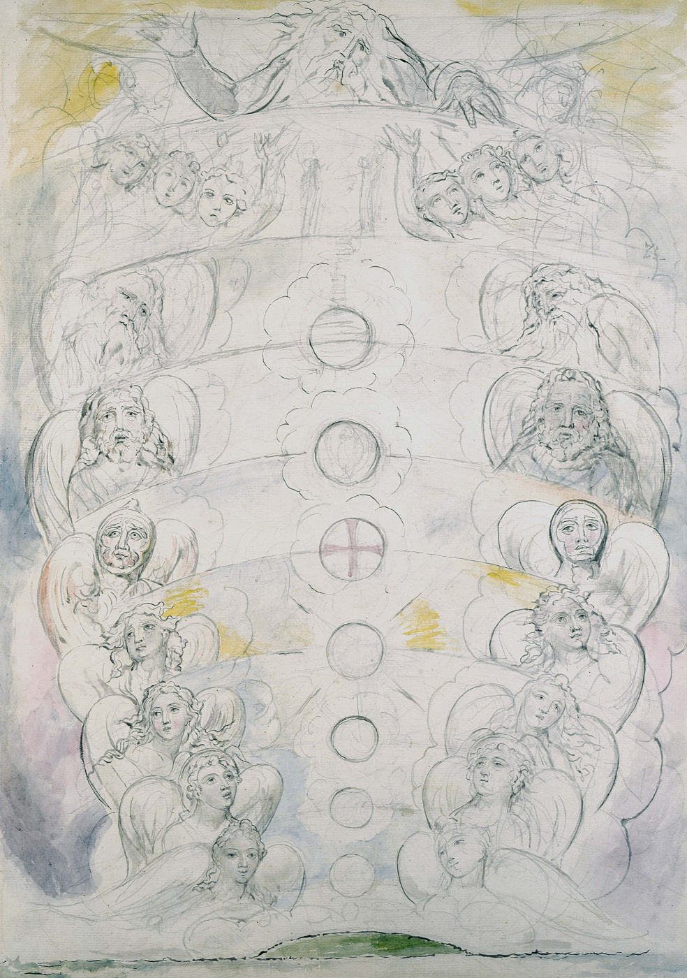 """William Blake. The phenomenon of the deity and the nine spheres. Illustrations for """"the divine Comedy"""""""