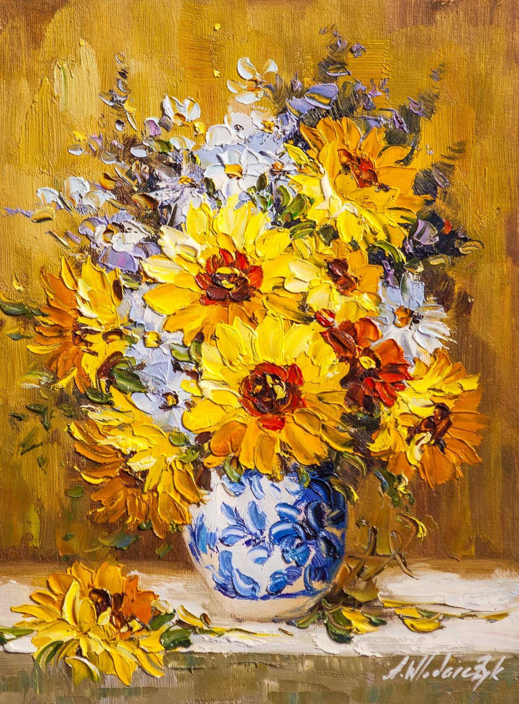 Andrzej Vlodarczyk. Sunflowers in a white and blue vase