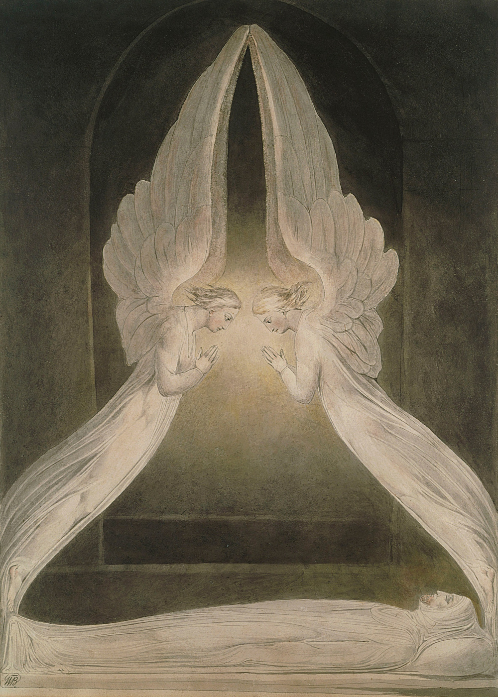 William Blake. Illustrations of the Bible. Christ in the tomb, guarded by angels