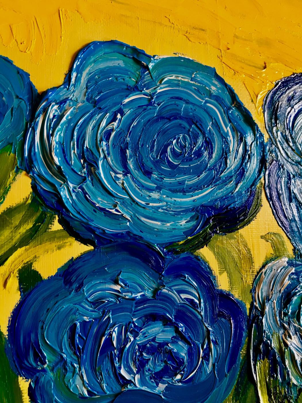 Blooming blue roses