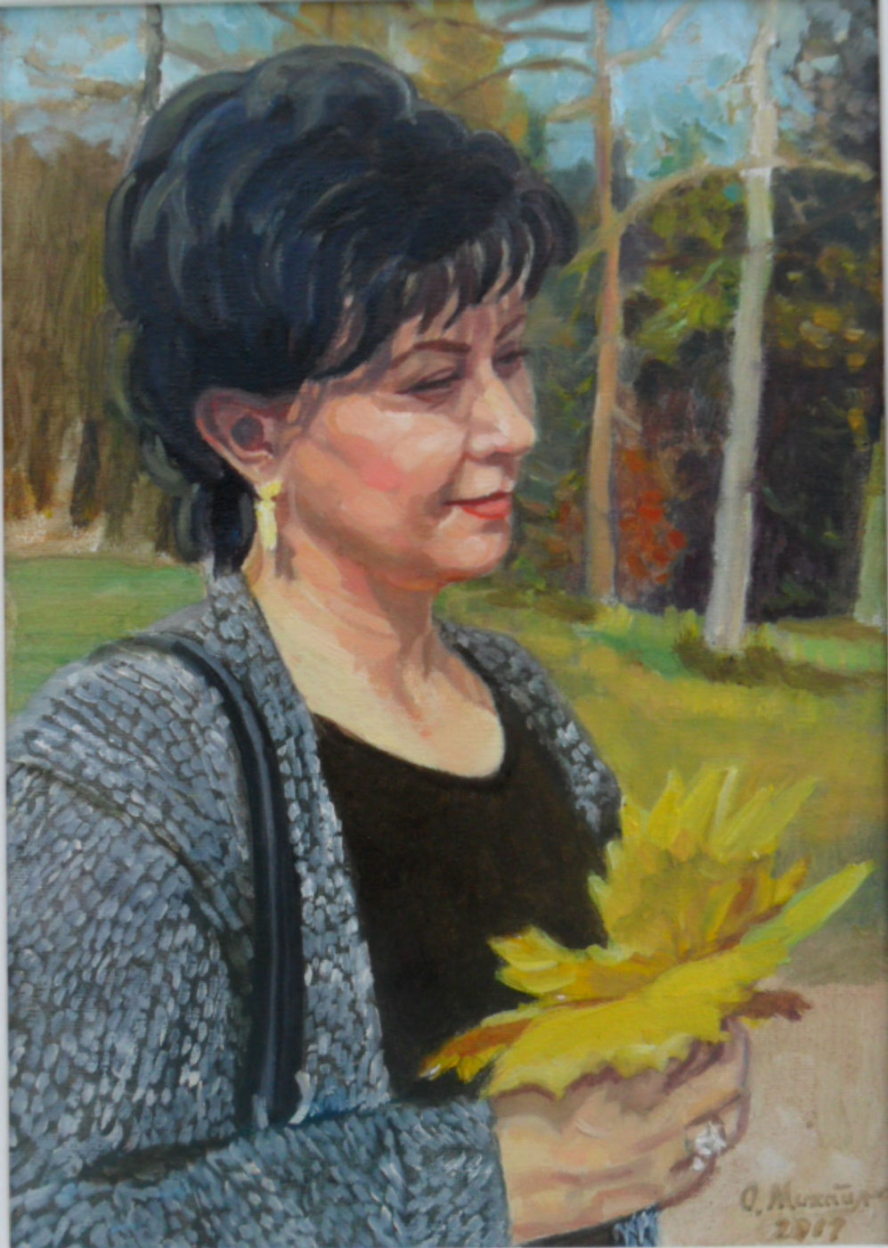 Olga Vladimirovna Mikhaylenko. Woman portrait with autumn leaves