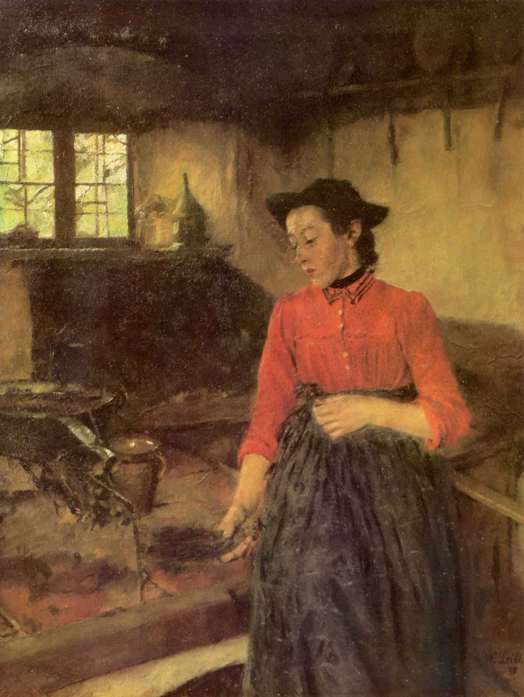 Wilhelm Maria Hubertus Label. Girl by the fireplace