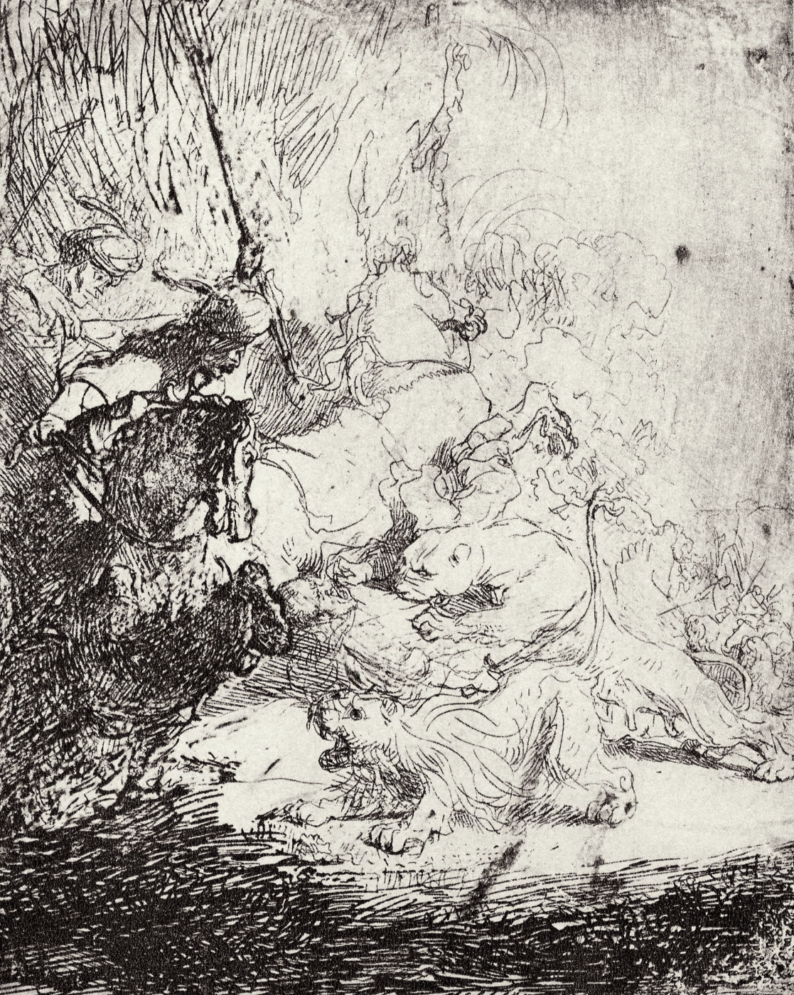 "Rembrandt Harmenszoon van Rijn. The so-called ""Small hunting lions"""