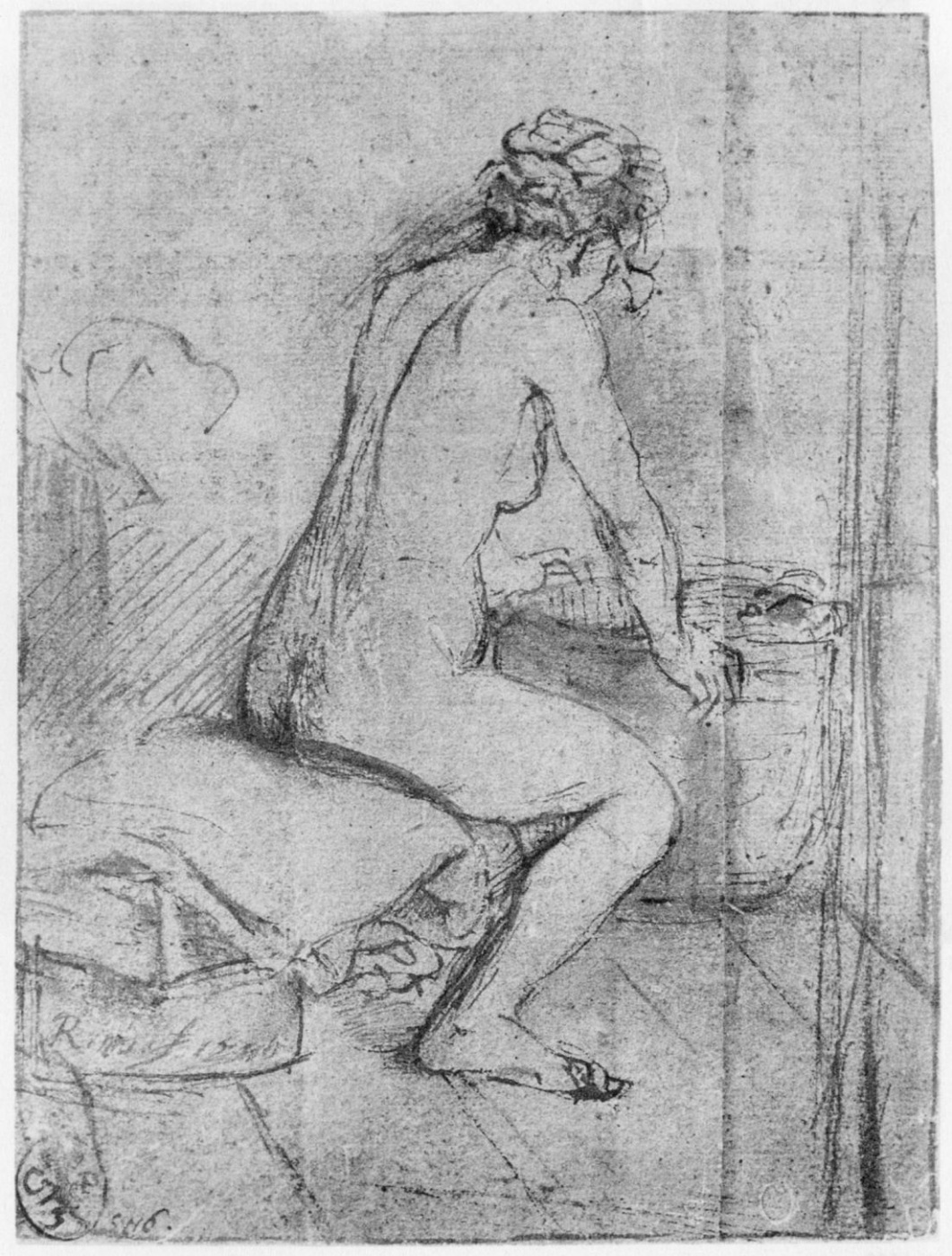 Rembrandt Harmenszoon van Rijn. Nude artist's model, leaning his hands on the cart