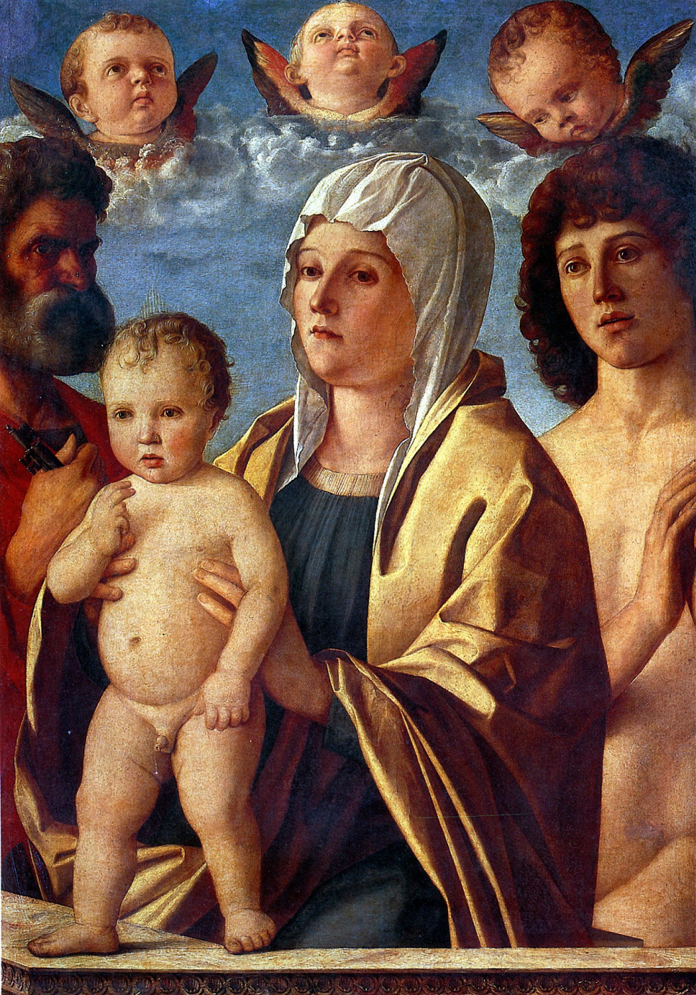 Giovanni Bellini. Madonna and Child with Saints Peter and Sebastian