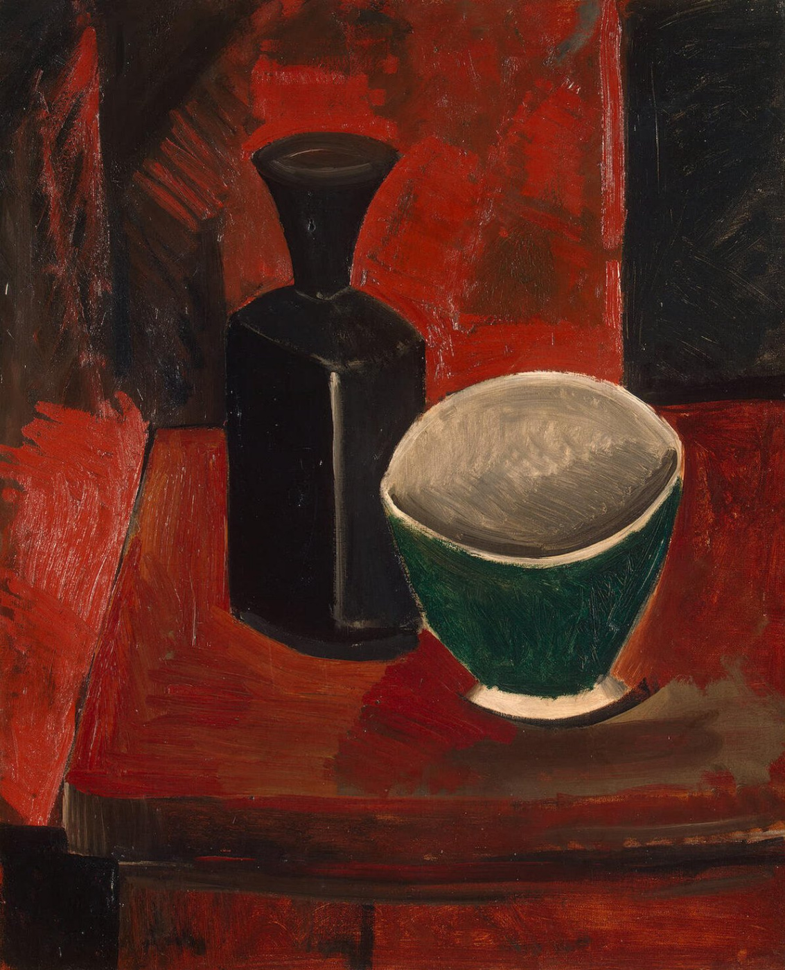 Pablo Picasso. Green bowl and black bottle