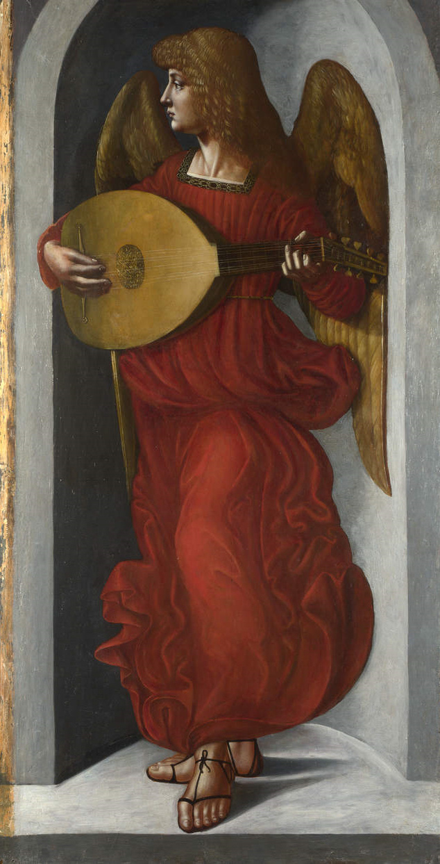 Giovanni Ambrogio de Predis. An angel in red with lute