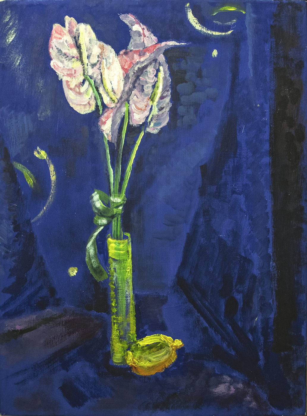 Nina Klimovskaya. Calla and lemon on blue