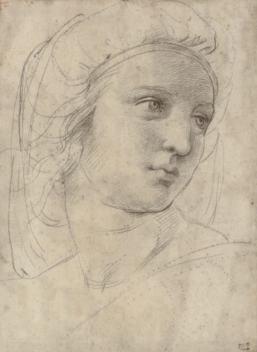 """Raphael Sanzio. Portrait of a young woman. Study for the Muse of Polyhymnia fresco """"Parnassus"""" Palace of the Pope in the Vatican"""
