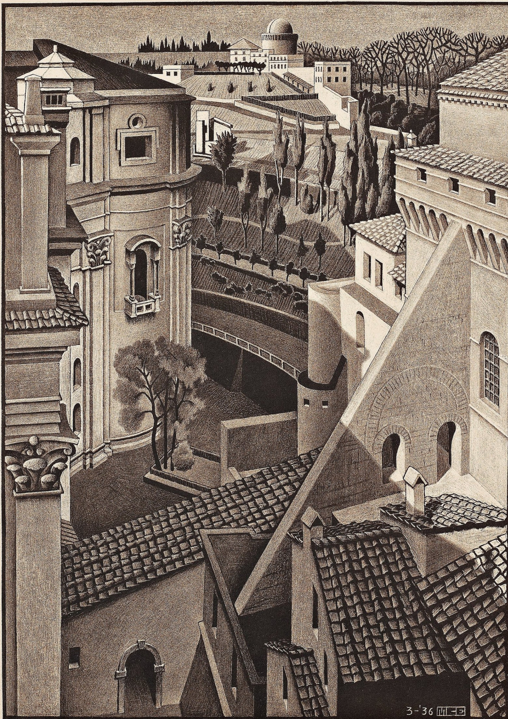 Maurits Cornelis Escher. Between the Cathedral of St. Peter and the Sistine Chapel