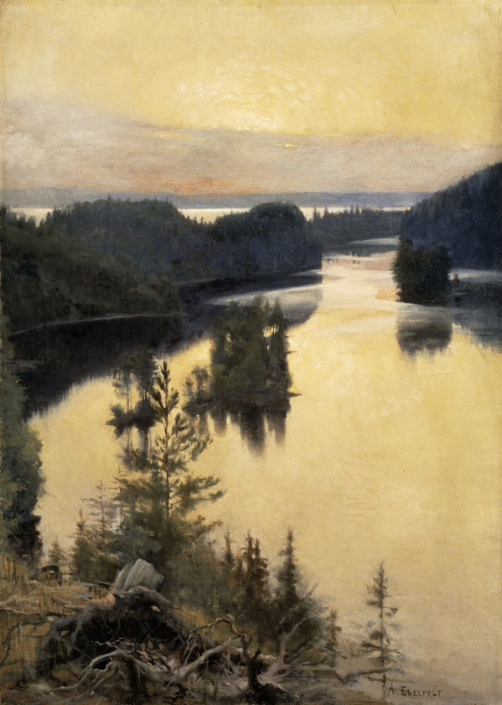 Альберт Густав Аристид Эдельфельт. Каукольский хребет на закате. 1889-1890